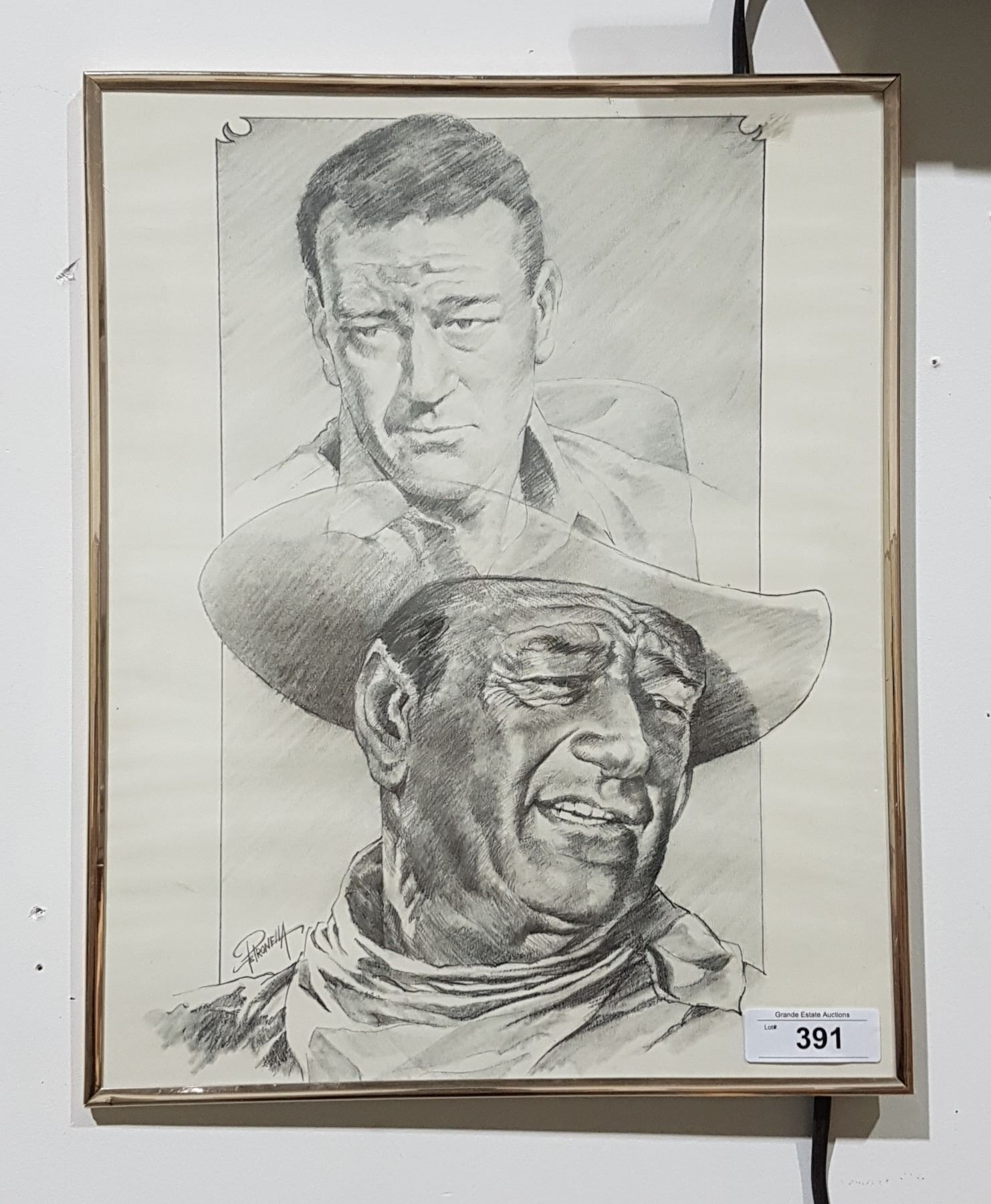 ORIGINAL PENCIL DRAWING OF JOHN WAYNE