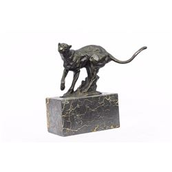 Panther Bronze Sculpture on Marble Base Statue