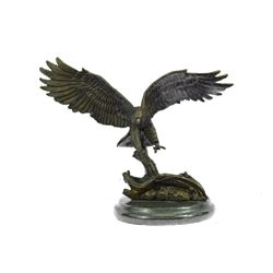 Flying American Eagle Bronze Sculpture on Marble Base Statue
