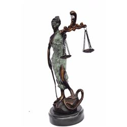 Blind Lady of Justice Bronze Statue on Marble Base Sculpture