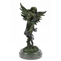 Young Fairy Clutches Giant Heart Bronze Statue