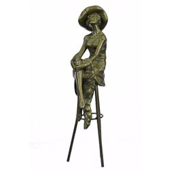 Fashion Model Sitting on Chair Bronze Sculpture