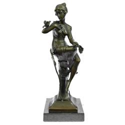 Exotic Sexy Girl Bronze Sculpture on Marble Base Statue