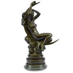 Greek God Nude Woman Sitting on Moon Bronze Sculpture