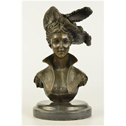 Girl Bust Lady Bronze Sculpture on Marble Base Statue