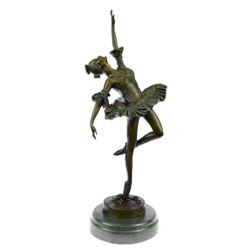 Ballerina Bronze Statue on Marble Base Sculpture