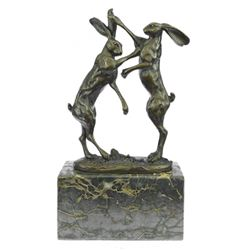 Two Hares Boxing Bronze Sculpture