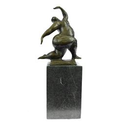 Woman Bronze Sculpture on Marble Base