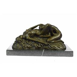 Lambeaux Two Lesbian Girl Bronze Sculpture on Marble Base Figurine