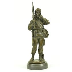 American Soldier Bronze Sculpture on Marble Base Figure