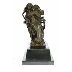 Lady Seating on Chair Bronze Sculpture on Marble Base Figurine