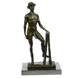 Nude Male Gay Art Bronze Sculpture on Marble Base Figurine