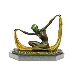 Graceful Nude Dancer Bronze Sculpture on Marble Base Figurine