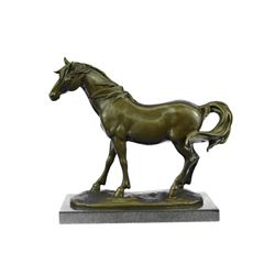 Fine Stallion Horse Bronze Sculpture on Marble Base Statue