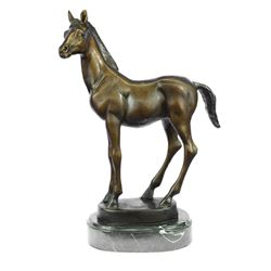 Horse Bronze Statue on Marble Base Figure