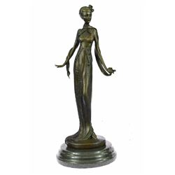 Fashion Model Bronze Sculpture on Marble Base Figurine