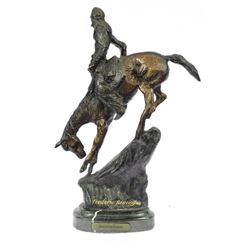 Native Indian Chief Riding Horse on a Rock Bronze Sculpture