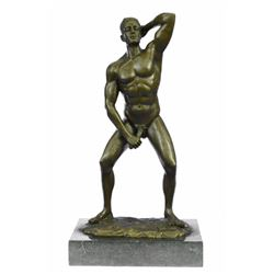 Nude Gay Man Bronze Sculpture on Marble Base Statue
