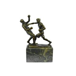 Last Round Boxing Bronze Statue on Marble Base Sculpture