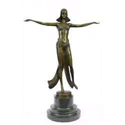 Belly Dancer Bronze Figurine on Marble Base Sculpture