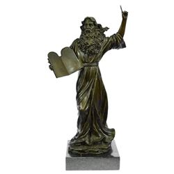 Moses Jewish Religious Bronze Figurine on Marble Base Statue