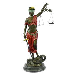 Blind Justice Lady Bronze sculpture on Marble Base Statue