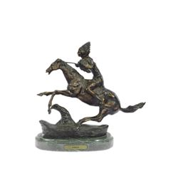 Warrior Bronze Sculpture on Marble Base Statue