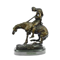 Indian Man with Spear on Horse Bronze Sculpture