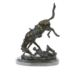 Fallen Man From Horse Bronze Sculpture on Marble Base Statue