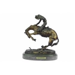 Cowboy on Horse Batteling a Rattle Snake Bronze Statue