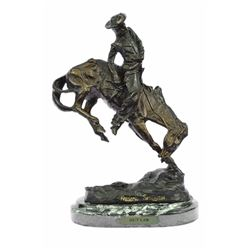Cowboy on Horse Rodeo Old West Western Bronze Sculpture