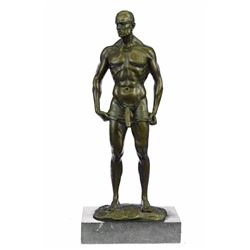 Nude Gay Man Bronze Sculpture on Marble Base Figurine