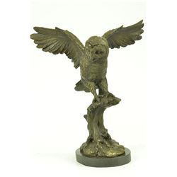 Owl on a Branch Wings Spread Bronze Statue