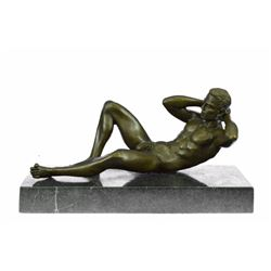 Nude Gay Bronze Sculpture on Marble Base Statue Art