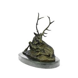 Elk-Buck-Stag Bronze Sculpture on Marble Base Statue