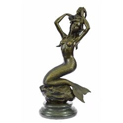 Nude Sexy Mermaid Bronze Sculpture on Marble Base Statue