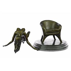 Two Piece Sexy Nude Woman on Sofa Chair Bronze Sculpture