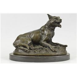 German Sheppard Dog Bronze Statue on Marble Base sculpture