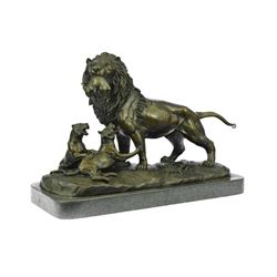 Male Lion With Cubs Bronze Figurine on Marble Base Statue