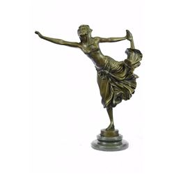 Semi Nude Dancer Bronze sculpture on Marble Base Statue