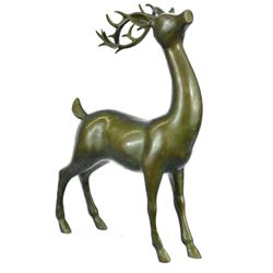 Deer-Buck Bronze Statue on Marble Base Sculpture