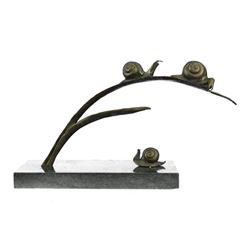 Snails on Branch Bronze Sculpture on Marble Base Statue