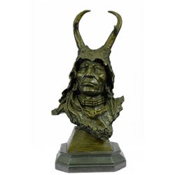 Native American Bronze Sculpture on Marble Base