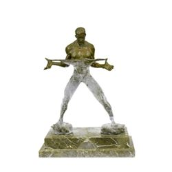 Fitness Model Muscular Man Flexing Bronze Sculpture