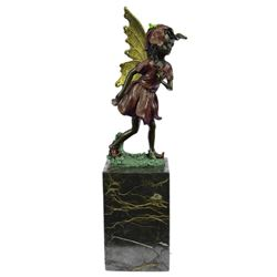 Gold Patina Guardian Butterfly Angel Bronze Figure