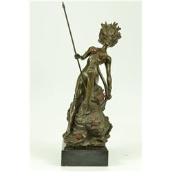 Naked Bust Amazon Female Warrior with Bow Bronze Sculpture