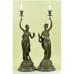 Sexy Seductive Charmeuse Candle Holder Bronze Sculpture