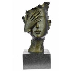 Shame on Me Bronze Sculpture on Marble Base Figurine
