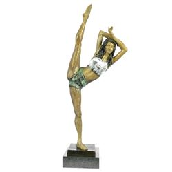 Gymnast Woman Bronze Statue on Marble Base