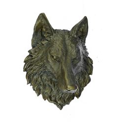 Wolf Head Bronze Sculpture Wall Mount Figurine